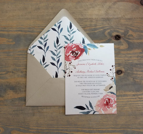 Romantic Burgundy, Blush and Teal Wedding Invitation Suite