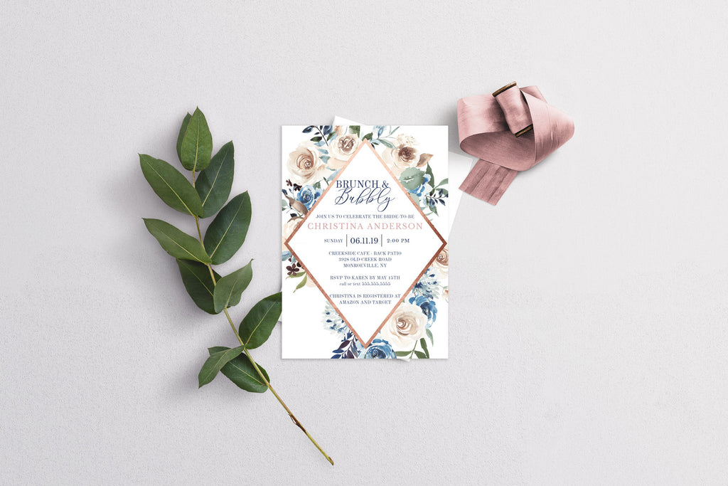 Rose Gold and Navy Bridal Shower Invitation
