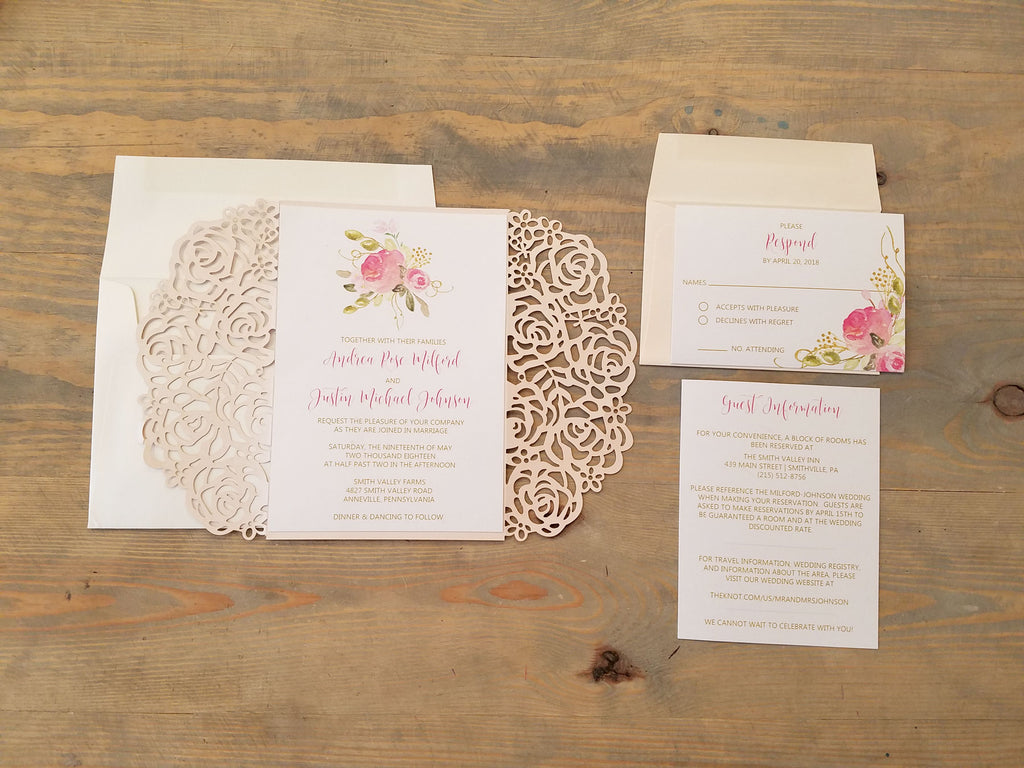 Blush and Gold Laser Cut Wedding Invitation Suite