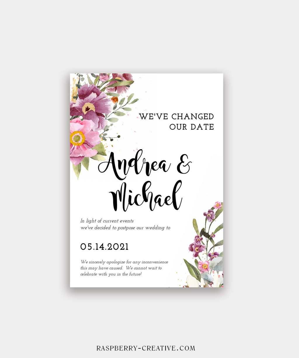 Rosey Botanical Change the Date Cards