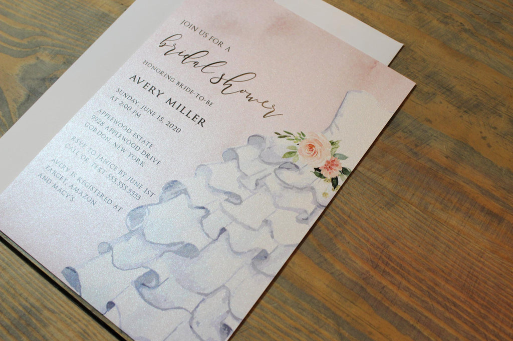 Ruffle Wedding Dress Bridal Shower Invitation