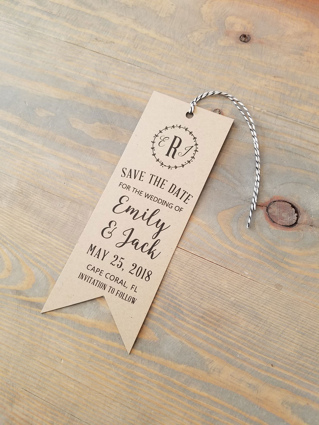 Rustic Kraft Save the Date Bookmark