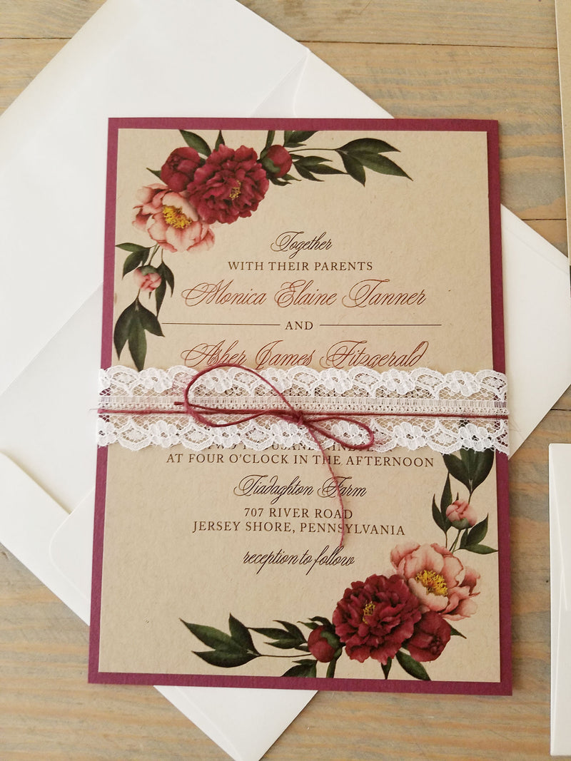 Rustic Burgundy Wedding Invitation Suite