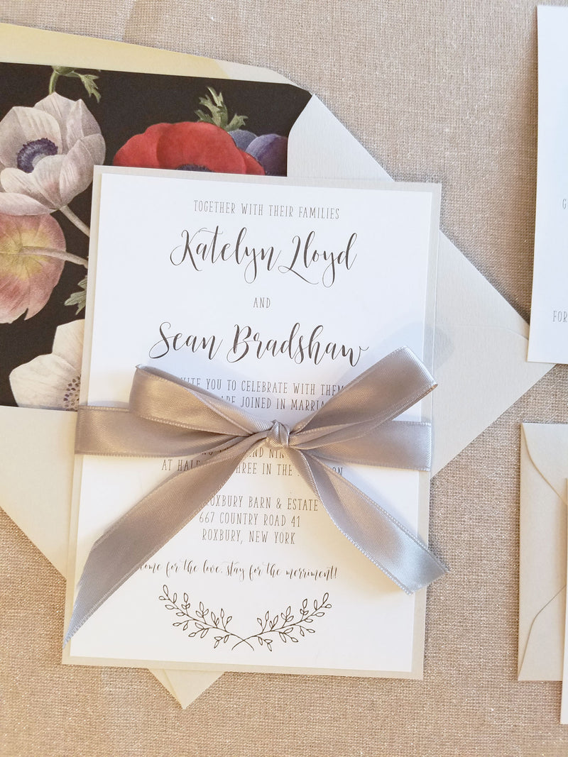 Classic Rustic Elegance Wedding Invitation Suite