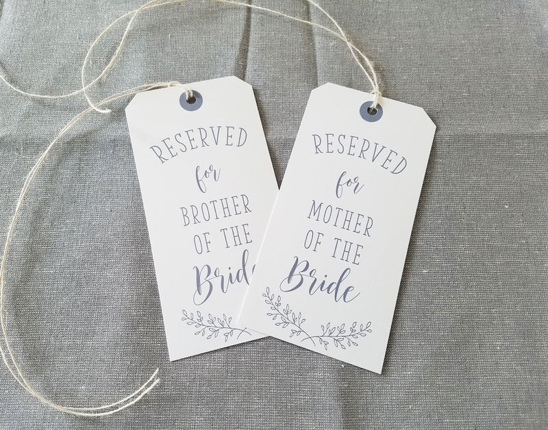 Rustic Elegance Reserved Seating Tags