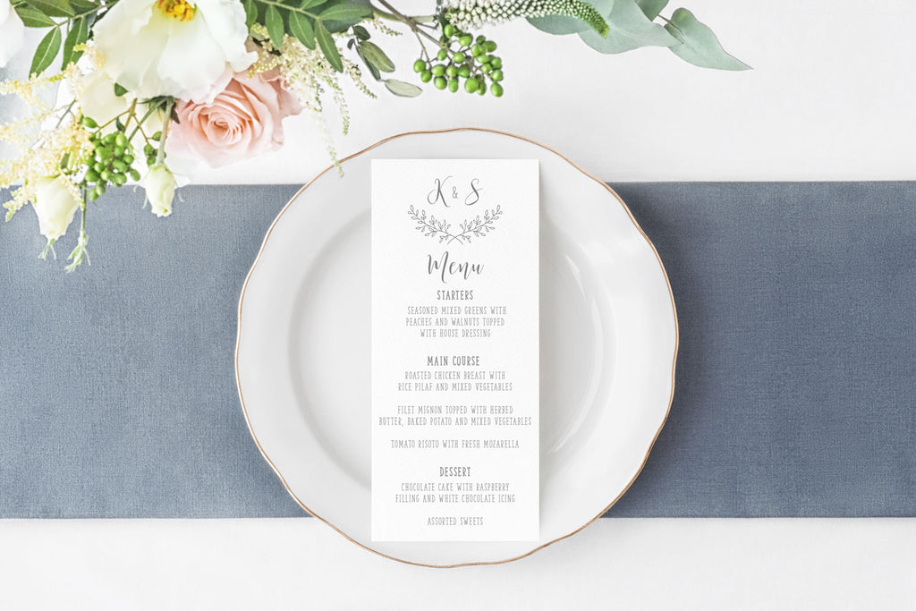 Rustic Elegance Wedding Menu Card