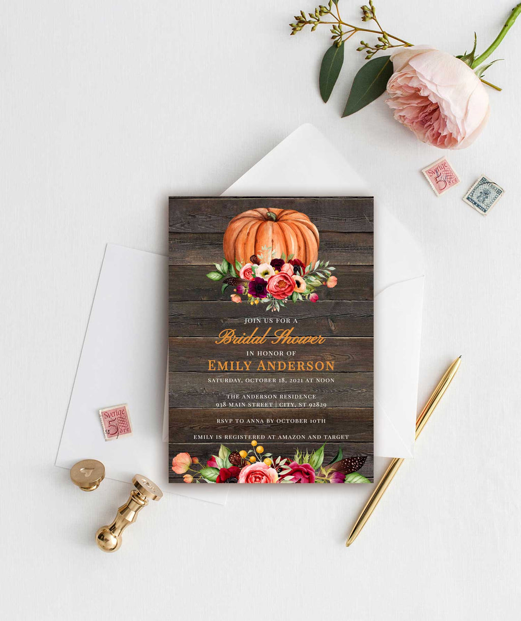 Fall Pumpkin Bridal Shower Invitation