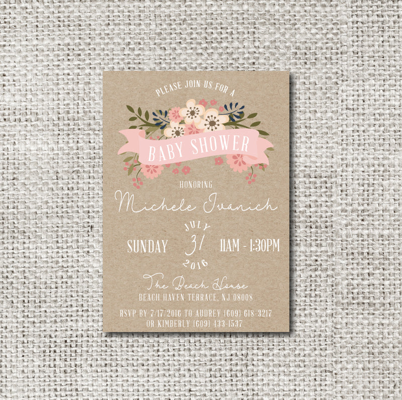 Rustic Pink Banner Baby Shower Invitation