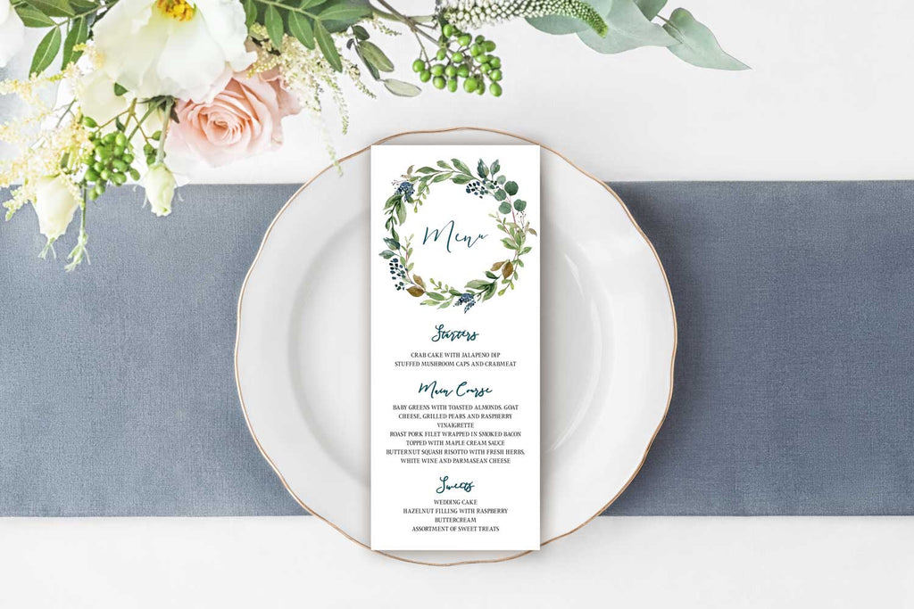 Navy Harvest Wreath Wedding Menu Card