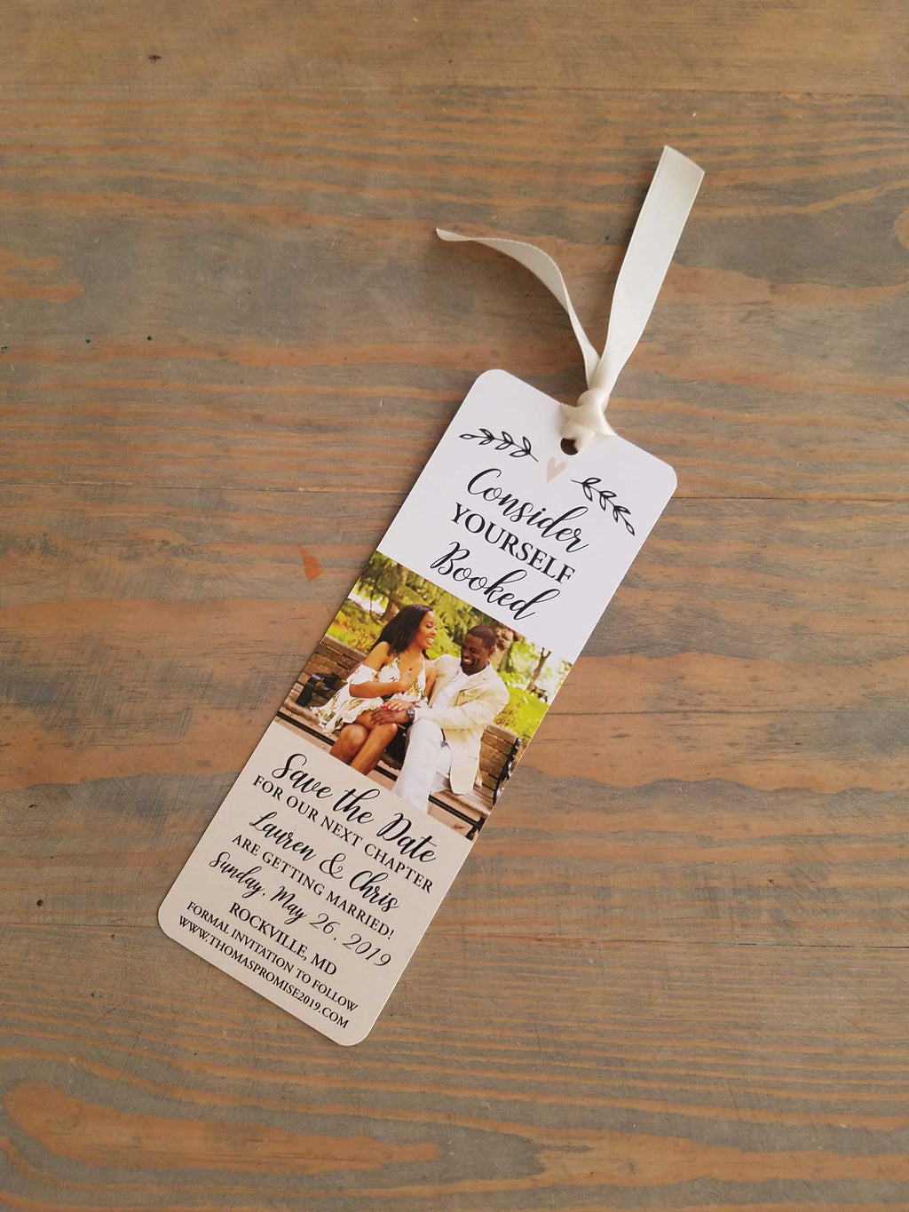 Simple Heart Save the Date Bookmark
