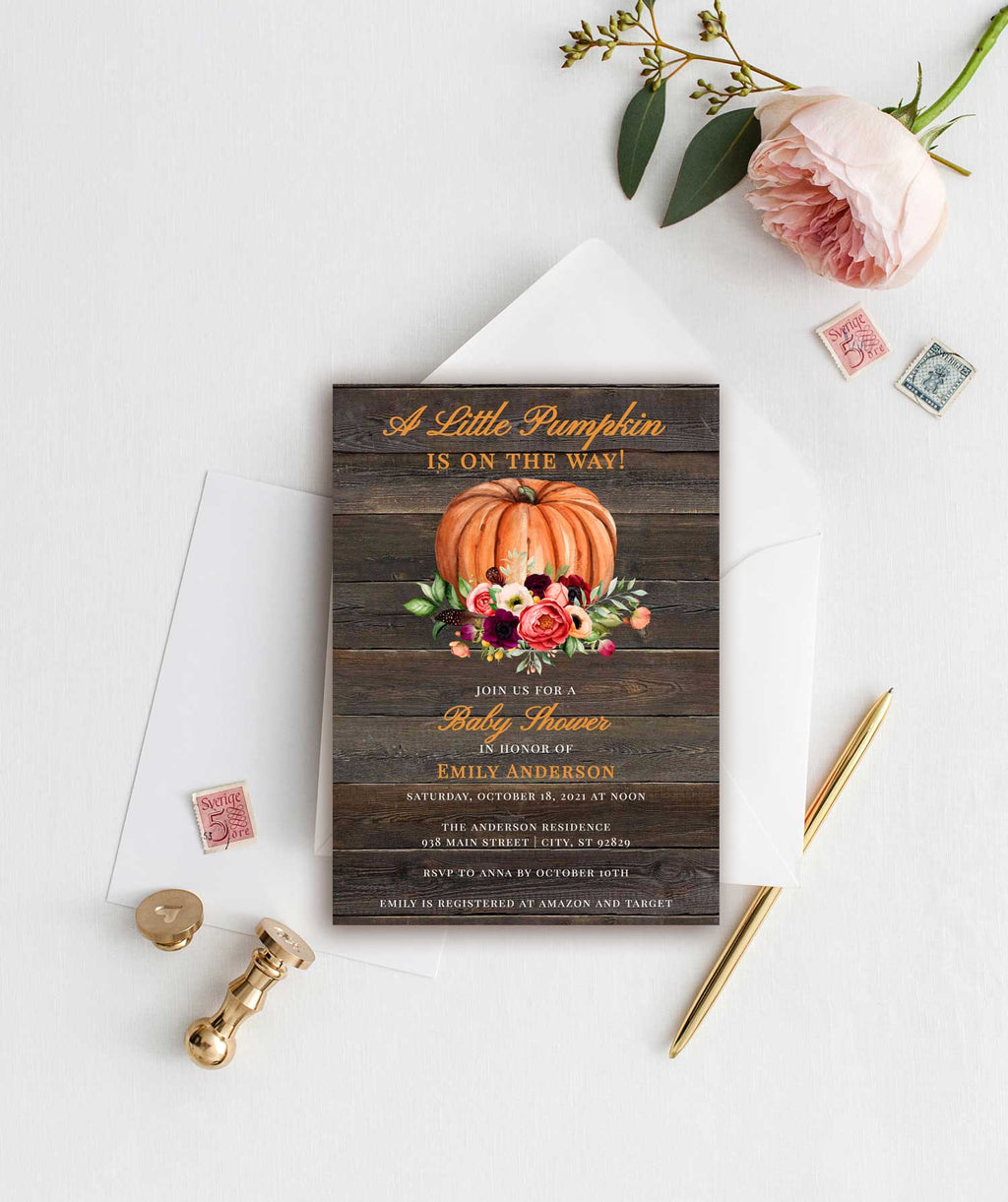 Rustic Sweet Little Pumpkin Fall Baby Shower Invitation