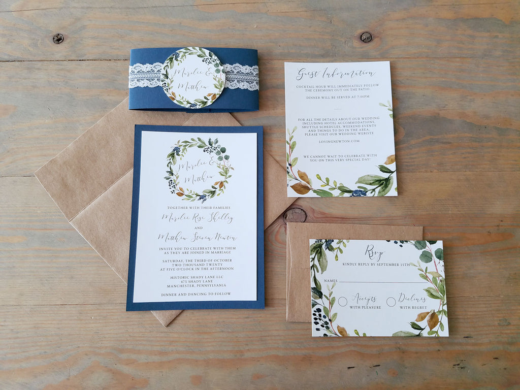 Navy Harvest Wreath Wedding Invitation Suite with Lace