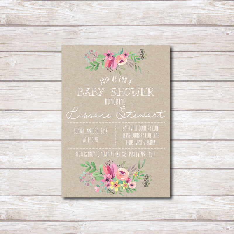 Rustic Pink Flowers Baby Shower Invitation