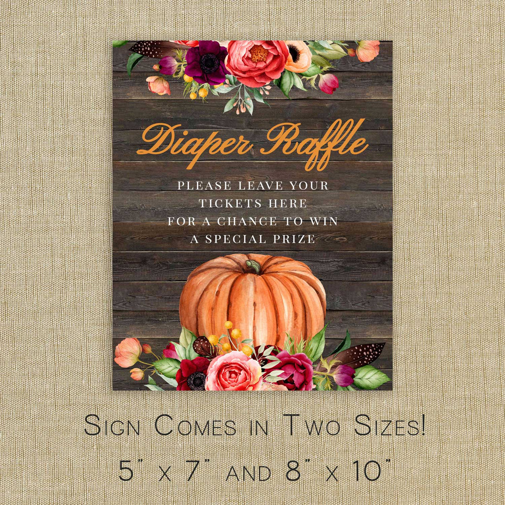 Rustic Pumpkin Baby Shower Diaper Raffle Sign and Cards Printable Template