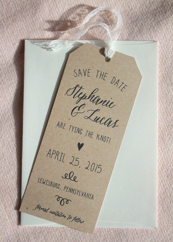 Rustic Tag Save the Date Bookmark