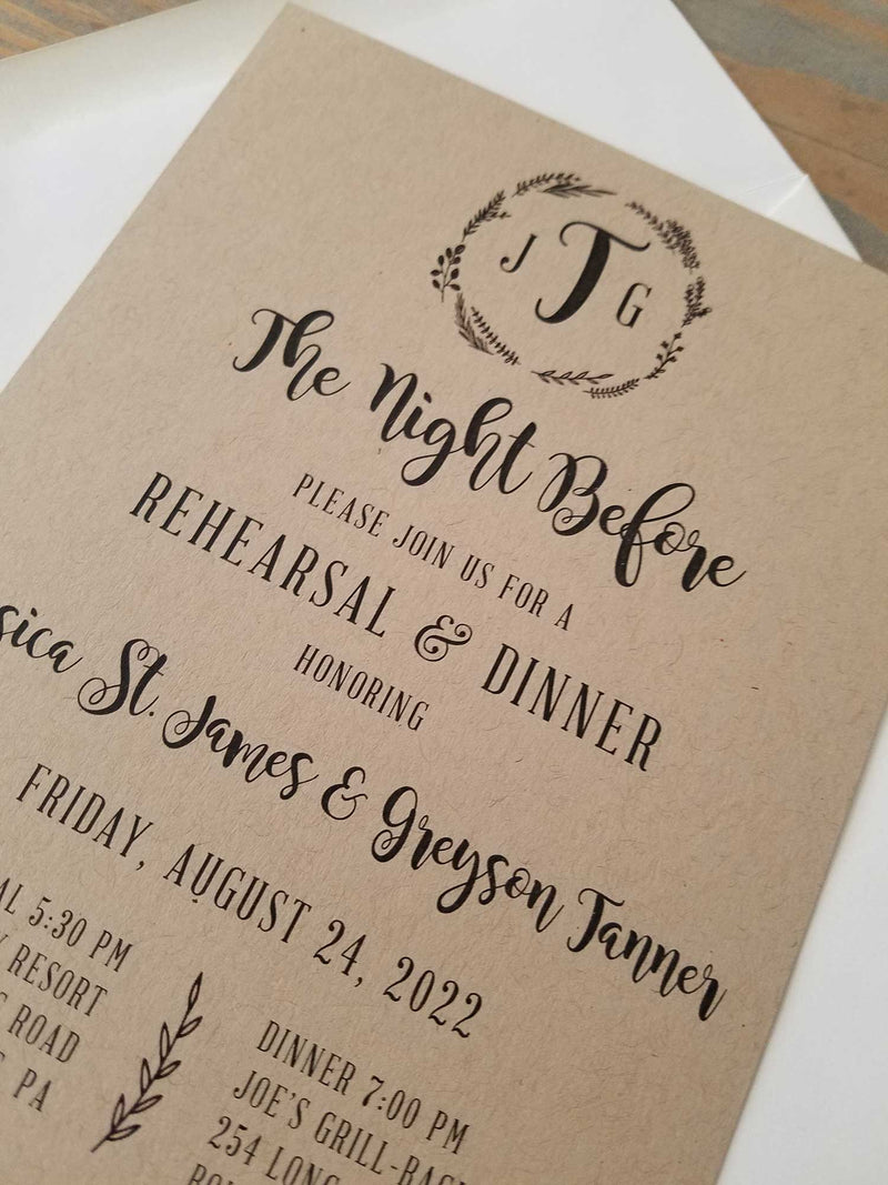Rustic Kraft Wreath Monogram Rehearsal Dinner Invitation