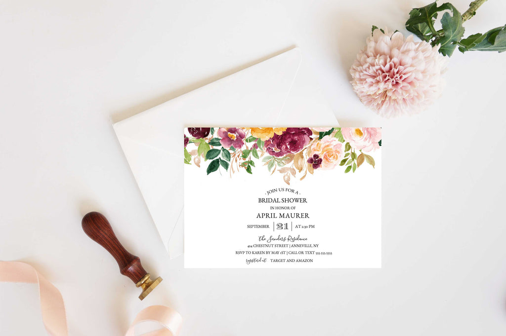Saffron Autumn Bridal Shower Invitation