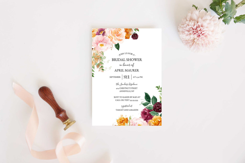 Saffron Autumn Corners Bridal Shower Invitation