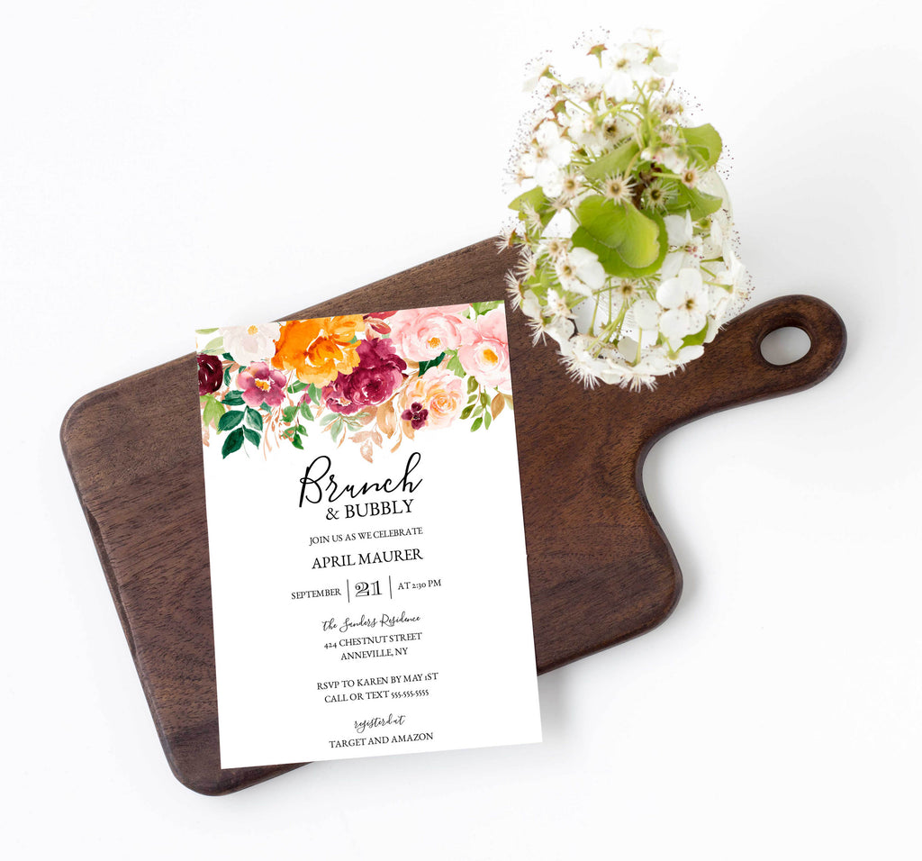 Saffron Autumn Brunch and Bubbly Bridal Shower Invitation