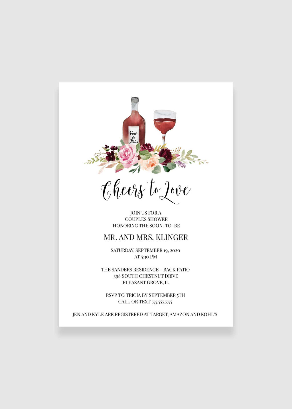 Cheers to Love Couples Wedding Shower Invitation - Bridal Shower Invitation