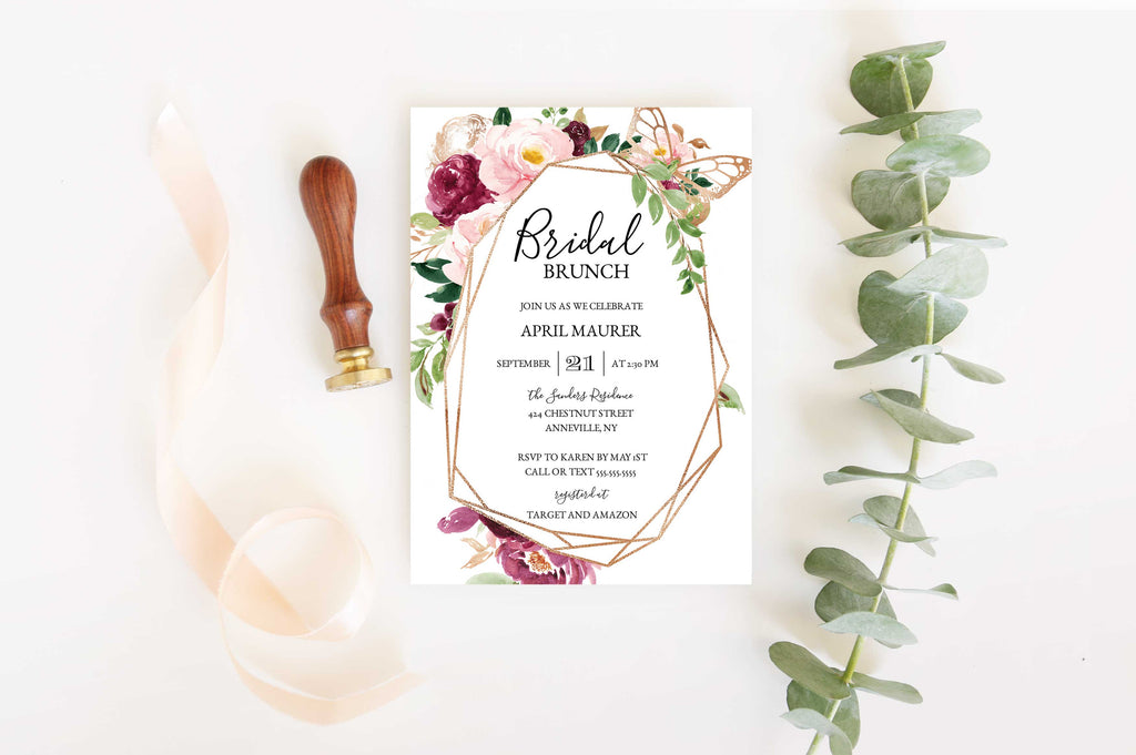 Saffron Geometric Bridal Shower Invitation