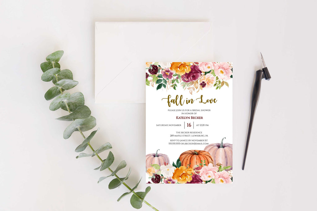 Saffron Fall Pumpkin Bridal Shower Invitation