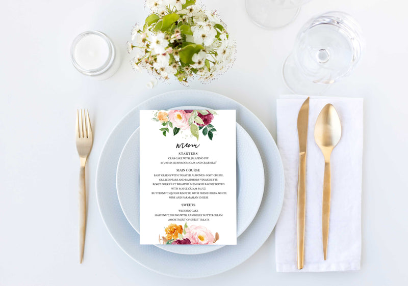 Saffron Wedding Menu Card