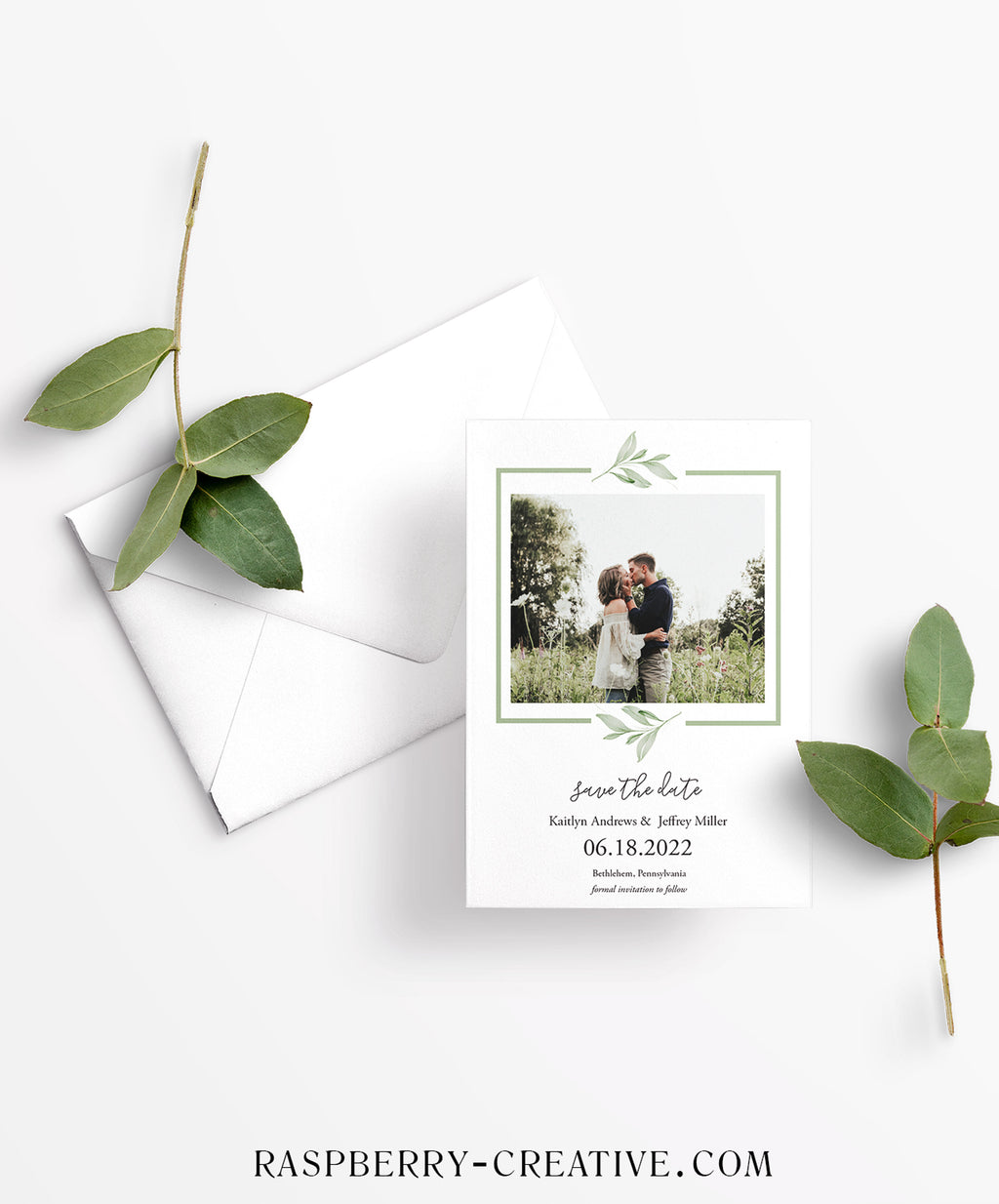 Sage Greenery Photo Save the Date Card
