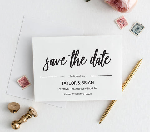 Modern Black and White Save the Date