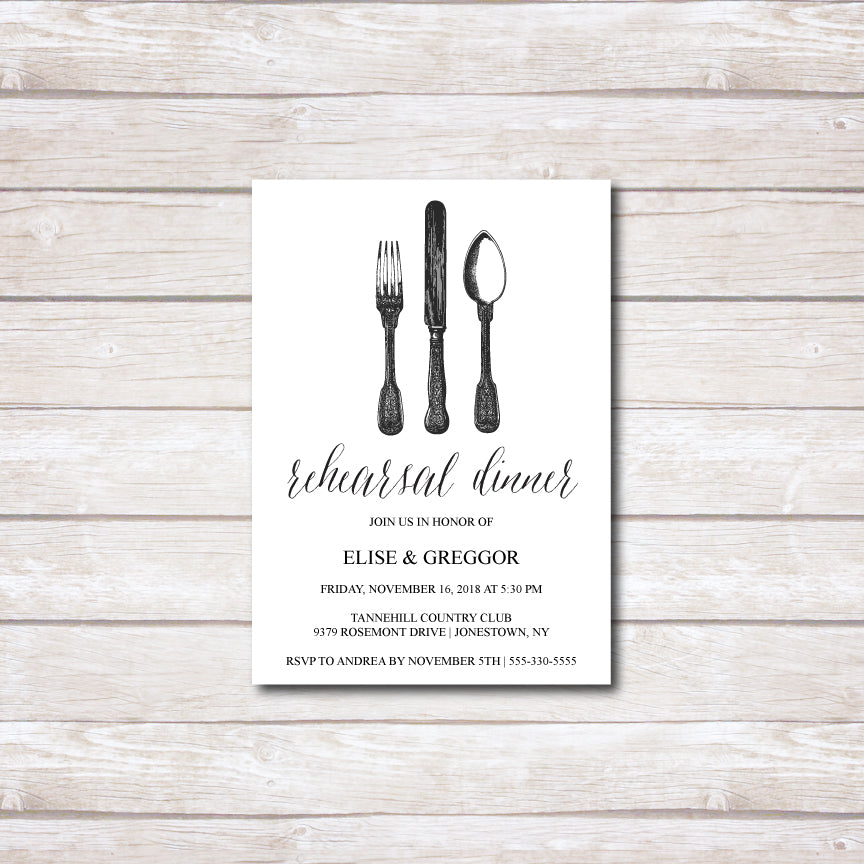 Antique Silverware Rehearsal Invitation