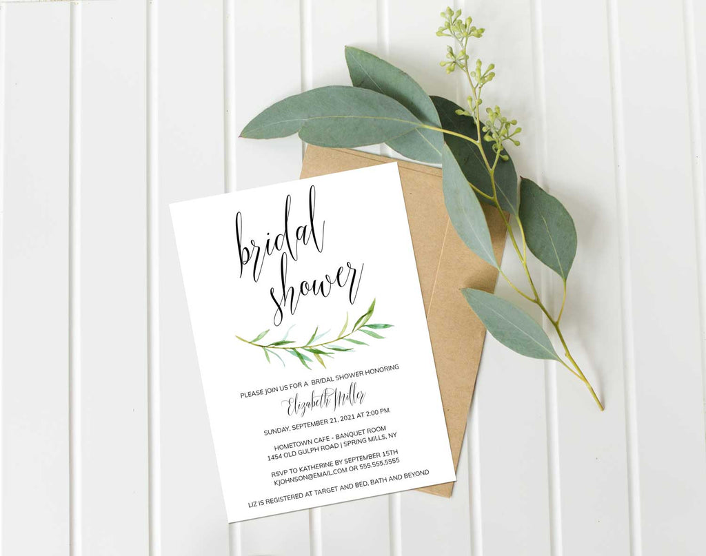 Delicate Greenery Bridal Shower Invitation