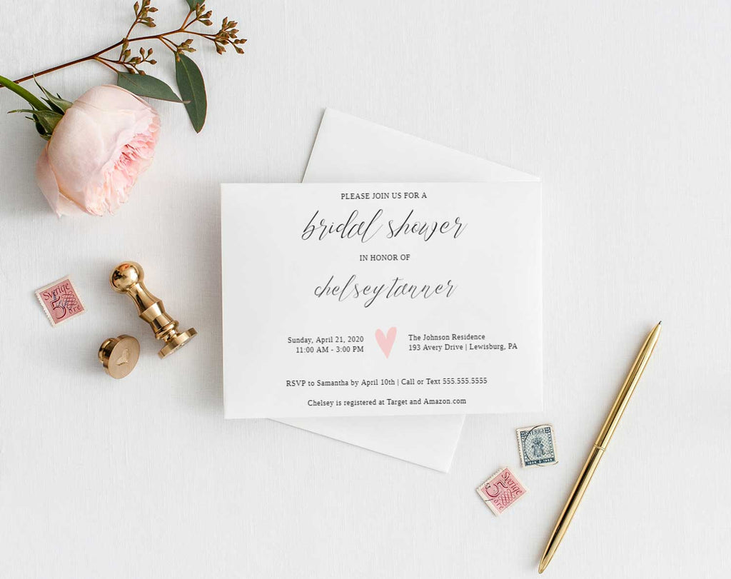 Pink Heart Bridal Shower Invitation