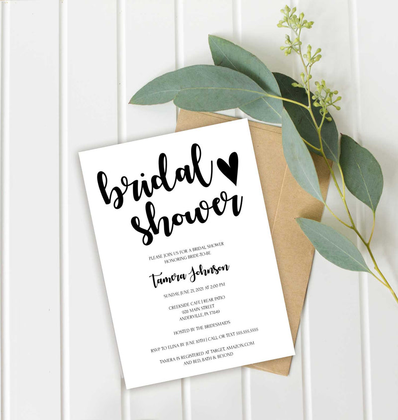 Simple Heart Bridal Shower Invitation
