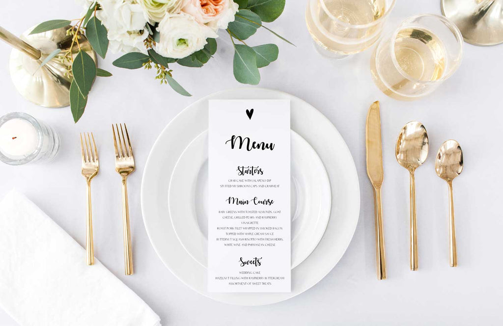 Simple Heart Wedding Menu Card