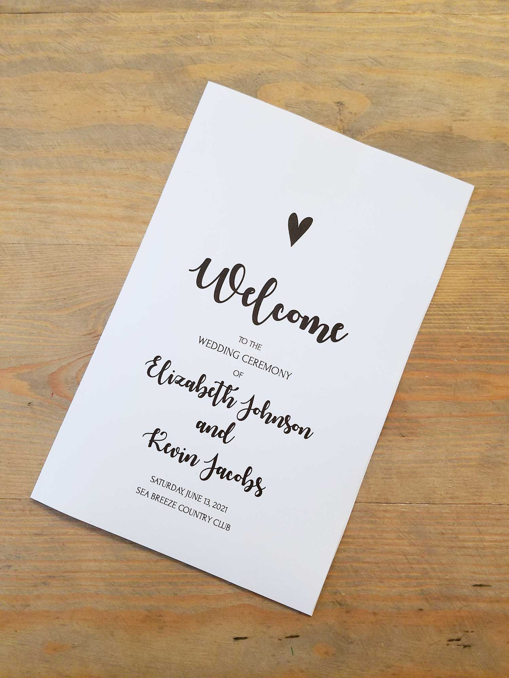 Simple Heart Wedding Program Booklet