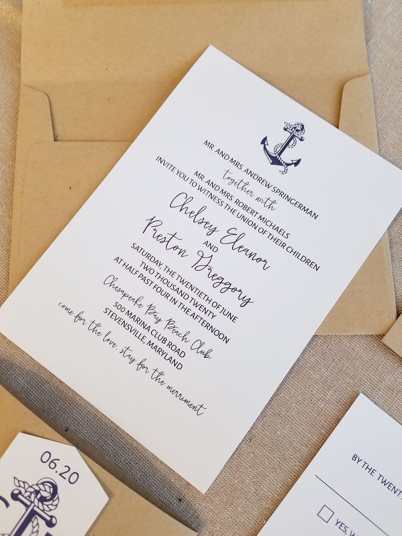 Nautical Rustic Simple Wedding Invitation Suite