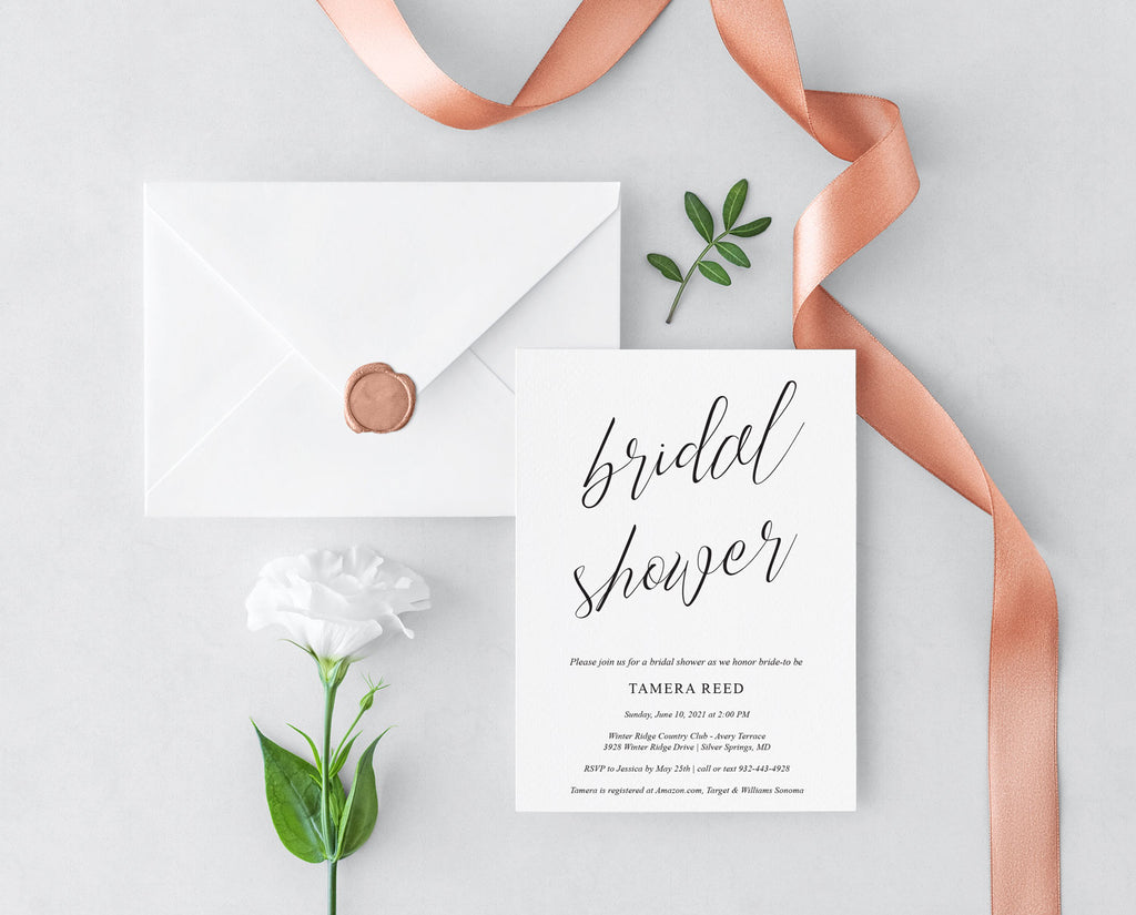 Simple Script Bridal Shower Invitation