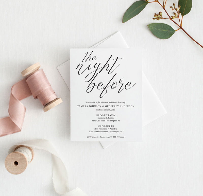 The Night Before Simple Script Rehearsal Invitation