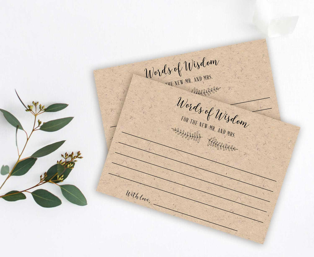 Rustic Branch Words of Wisdom Card for Newlyweds, Graduate or Customize