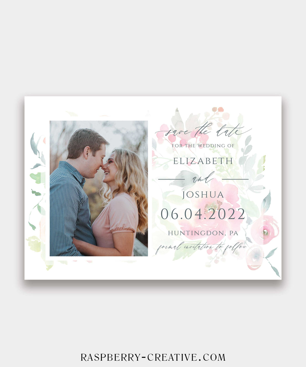 Soft Watercolor Blooms Photo Save the Date Card