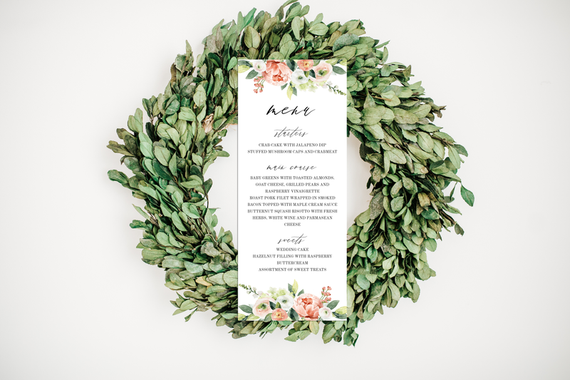 Spring Bouquet Wedding Menu Card