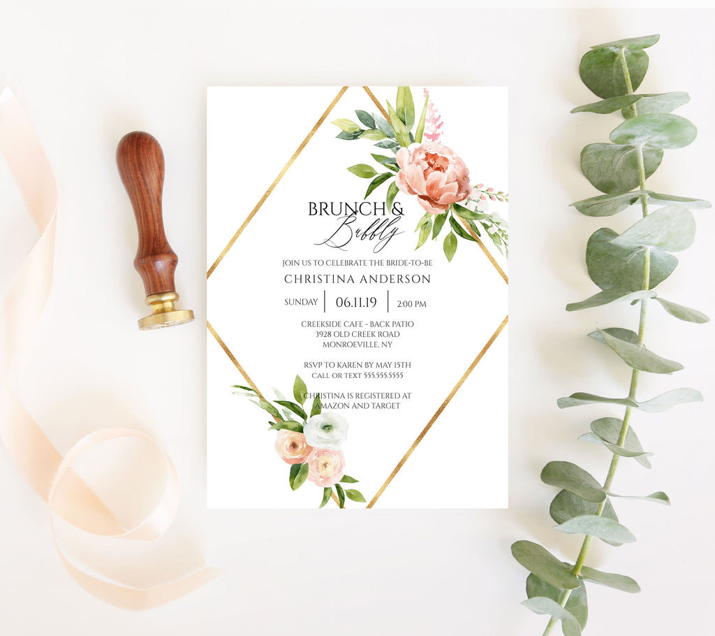 Geometric Spring Floral Bridal Shower Invitation