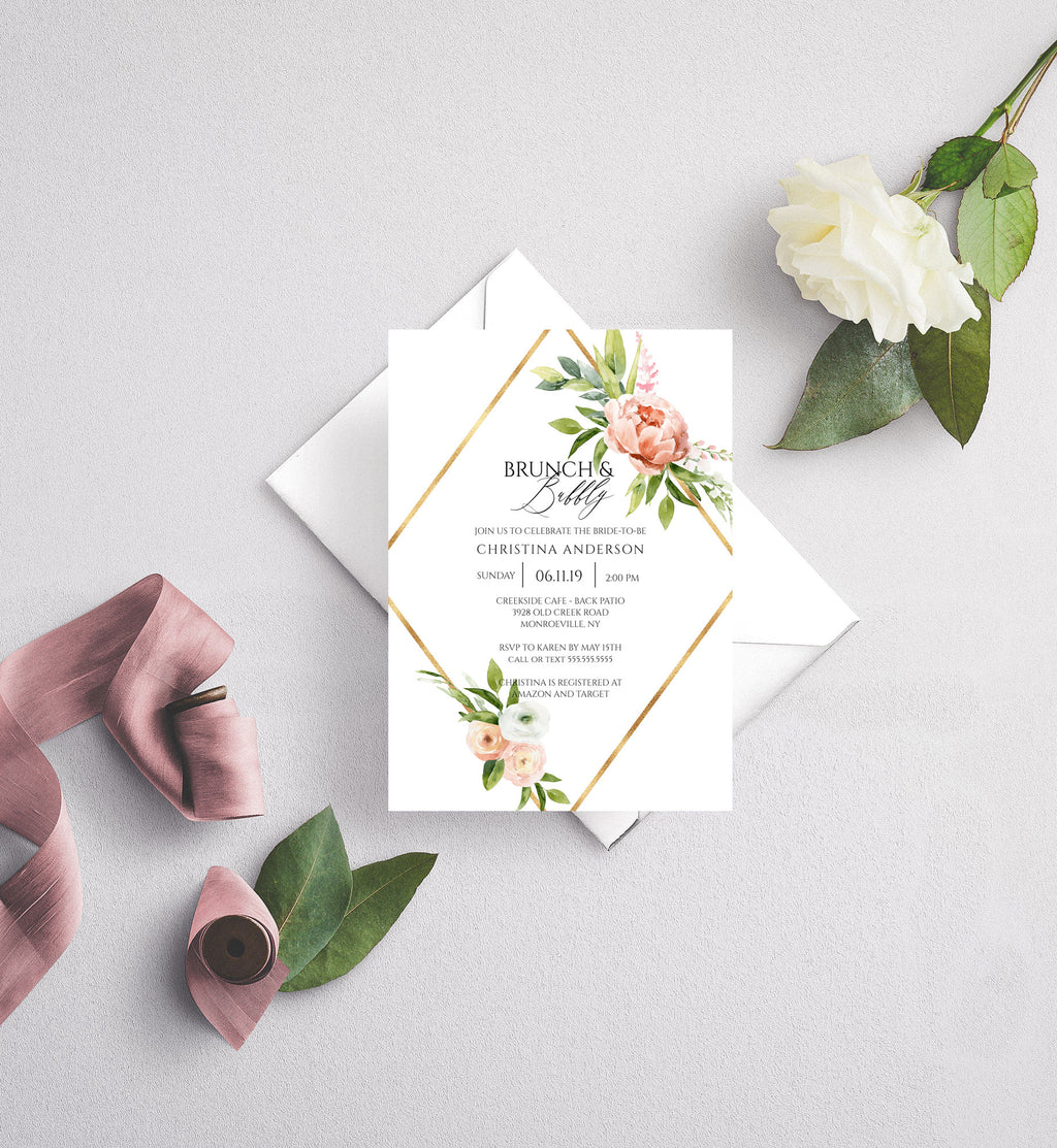 Spring Floral and Gold Diamond Bridal Shower Invitation