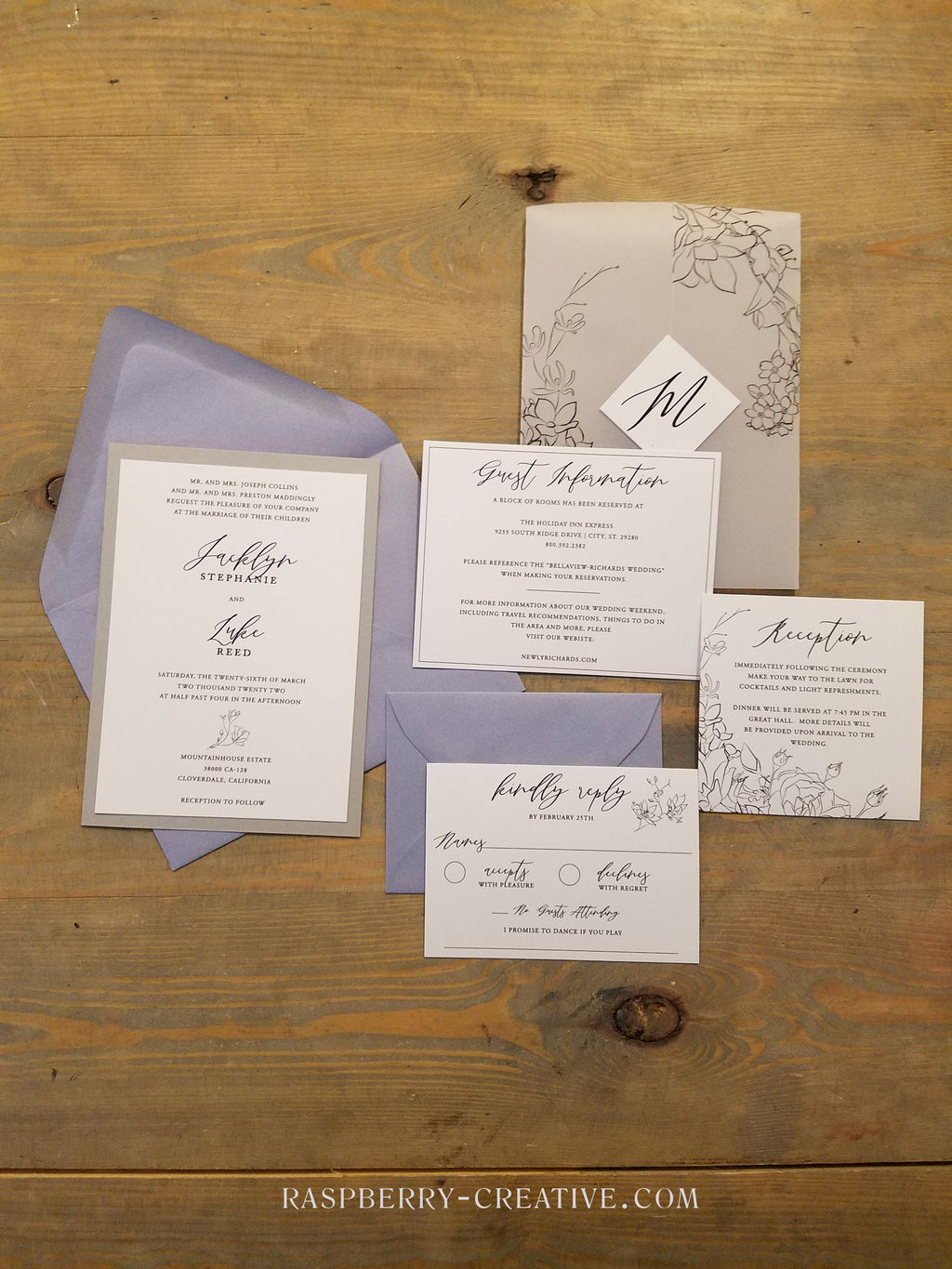 Dusty Blue Periwinkle Hand Draw Flowers Vellum Wedding Invitation Suite