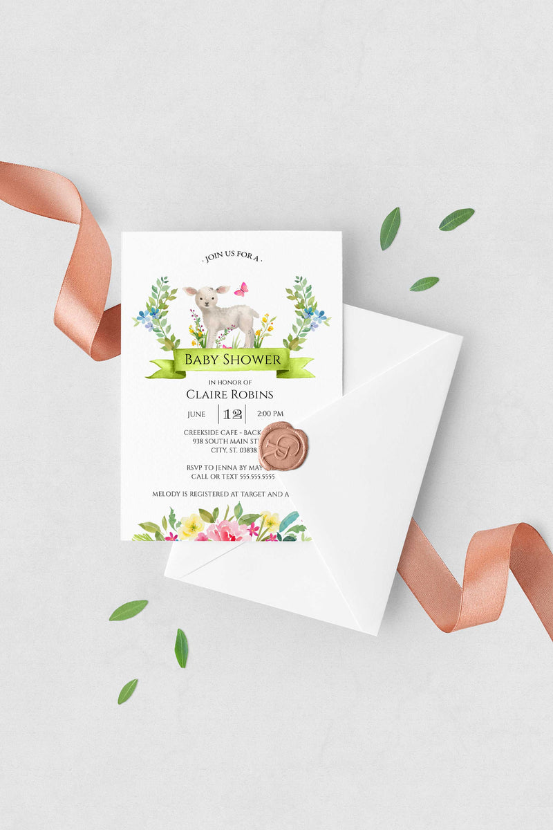 Spring Little Lamb Baby Shower Invitation