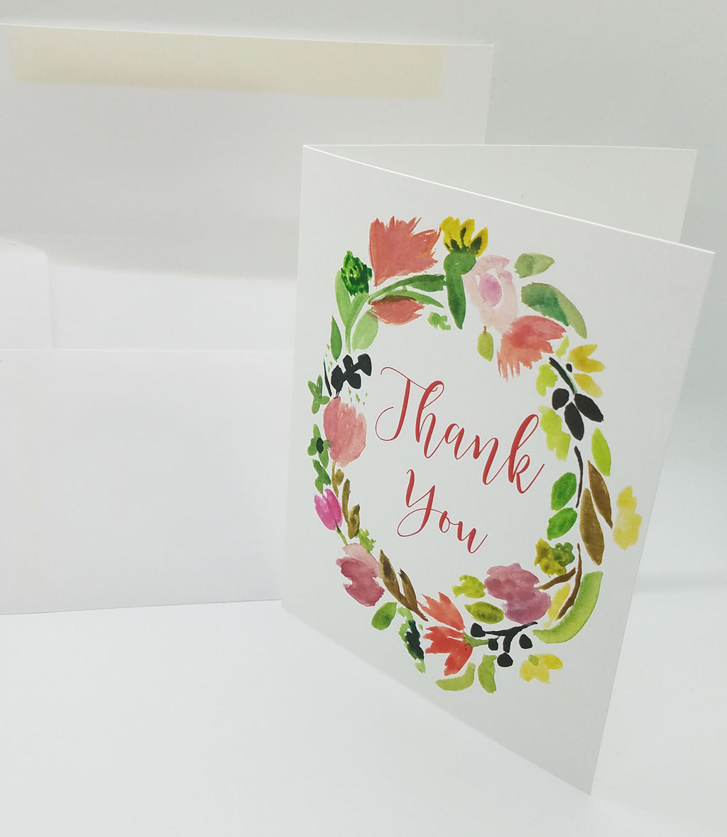 Spring Wreath Thank You Note Card