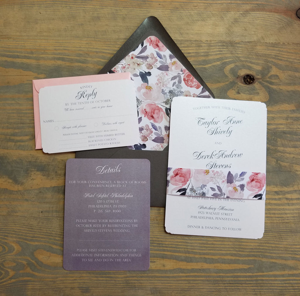 Soft Romance Blush and Grey Wedding Invitation Suite