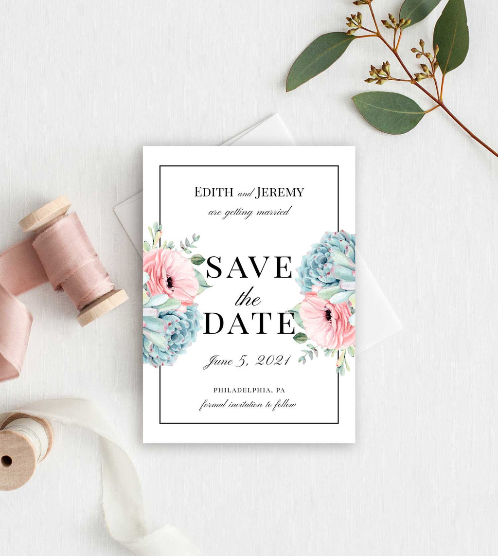 Succulent Border Save the Date Card