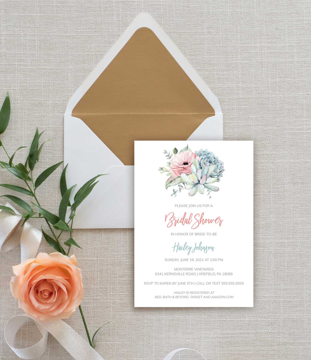 Succulent Flower Bridal Shower Invitation