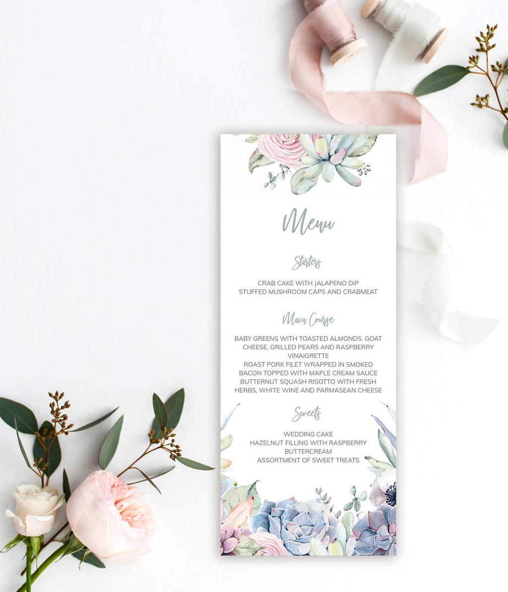 Succulent Bouquet Wedding Menu Card